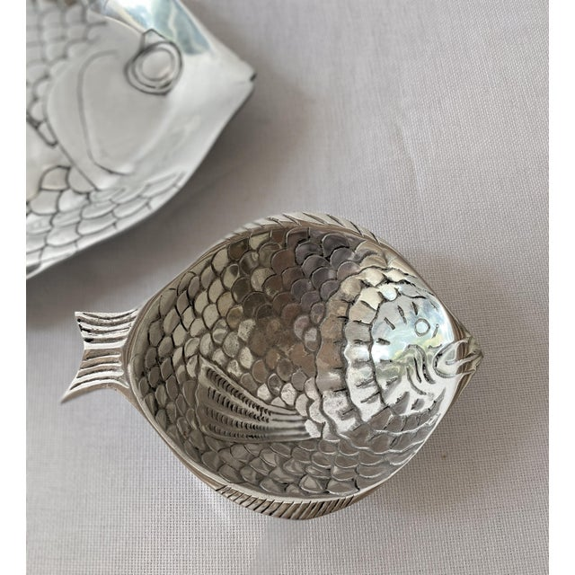 Metal Pewter Fish Platter and Bowl Set - Set of 2 For Sale - Image 7 of 10