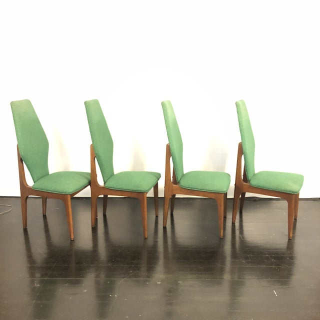 Set of 4 Stunning Sculptural High Back Dining Chairs in the style of Adrian Pearsall / Harvey Probber. Solid Walnuy frames...