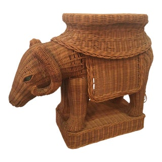 Vintage Wicker Ram Garden Stool Plant Stand For Sale