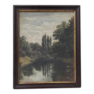 19th Century Country Landscape With Poplar Trees and a Lake For Sale