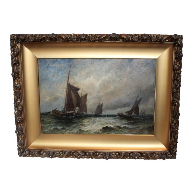 "Vintage ""Ships at Sea"" Oil Painting by E.J. Packbauer For Sale"