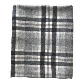 Grey Tartan Plaid Wool Fabric Remnant For Sale