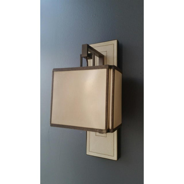 Paul Marra Leather Back Sconce with Oiled Paper Shade For Sale In Los Angeles - Image 6 of 6