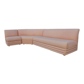 1970s Mid-Century Modern Curved Sectional Sofa in Pink For Sale