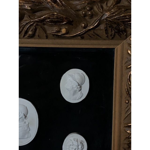 Mid 19th Century Antique Italian Grand Tour Plaster Cameo and Intaglio Arrangement, Framed For Sale - Image 5 of 12