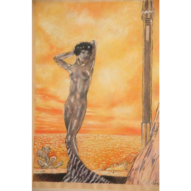 Early 20th Century One of a Kind Art Deco Watercolor by Eduard Chimot Custom Framed For Sale - Image 5 of 11