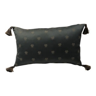 French Blue Damask Lumbar Pillow With Tassles