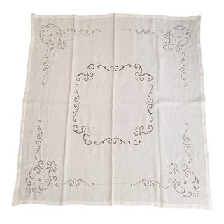 Vintage White Linen Cutwork Tablecloth For Sale