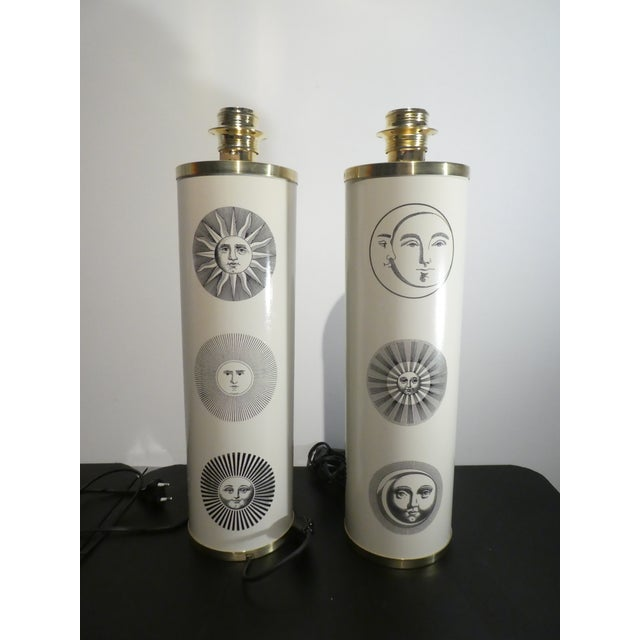 Piero Fornasetti 1960s Vintage Sole Fornasetti Table Lamps - a Pair For Sale - Image 4 of 9