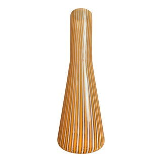 "1960s Vintage Gio Ponti Style Italian Orange, White and Clear ""a Canne"" Vertical Stripes Cased Murano Glass Vase Bottle For Sale"