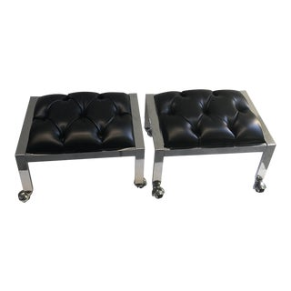 1970s Vintage Chrome and Black Vinyl Footstools on Casters- A Pair For Sale