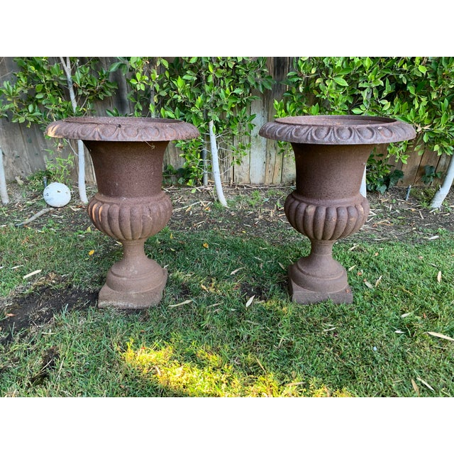 Vintage Distressed Iron Garden Urns - a pair. Perfect accent peice for your garden as is or as a planter.