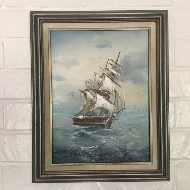 Canvas Mid 20th Century Vintage Detailed Clipper Ship Original Oil Painting For Sale - Image 7 of 7