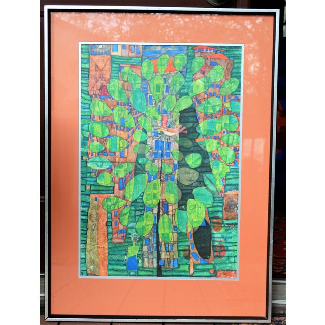 "Abstract Expressionism Friedrich Hundertwasser ""Singing Bird on a Tree"", Framed and Matted Print For Sale - Image 3 of 7"