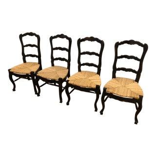 1990s Vintage Black Painted Country French Side Chairs- Set of 4 For Sale