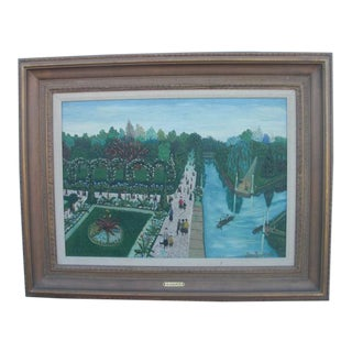 Landscape Oil Painting of Parisian Tuileries Gardens by Jean Busquets For Sale