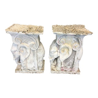Vintage Old Palm Beach Coral Stone Elephants Garden Stools