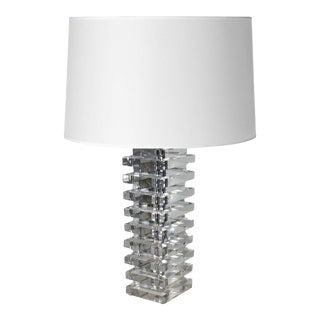 Karl Springer Stacked Lucite Lamp with Shade For Sale