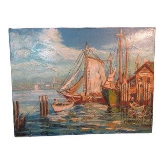 Original Harbor Scene Oil Painting