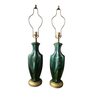 Mid-Century Green Drip Glaze Lamps - A Pair For Sale
