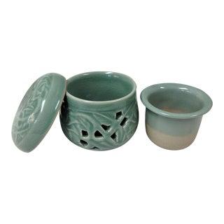 Korean Celadon Green Glaze Tea Cup & Lid