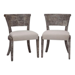 Pair of Fishskin Covered Chairs