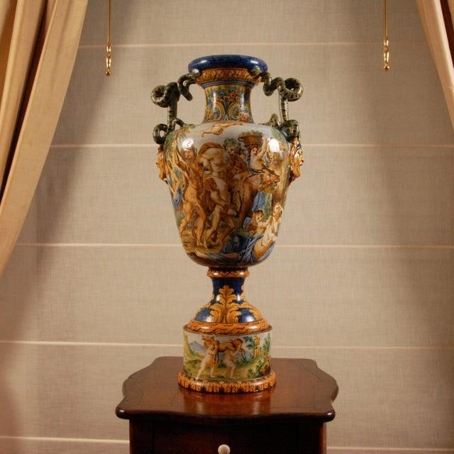 Italian Majolica Serpentine Handle Mythological Vase For Sale - Image 13 of 13