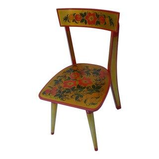 1950's Vintage Russian Red and Gold Hand Painted Children's Chair For Sale