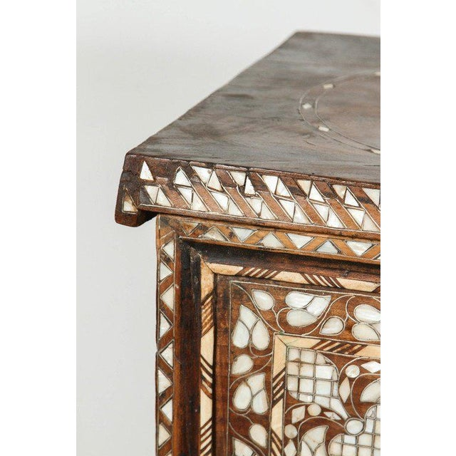 19th Century Antique Syrian Mother-Of-Pearl Inlay Wedding Trunk For Sale - Image 4 of 11