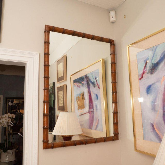 1970s Vintage Bamboo Mirror For Sale - Image 4 of 5
