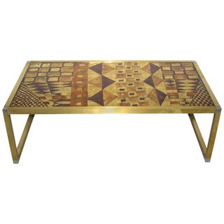 1970s Italian Art Deco Abstract Design Brass Coffee Table With Gold Leaf For Sale