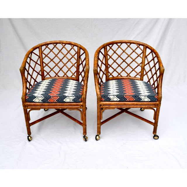 Asian Chinoiserie Chinese Chippendale Rattan Barrel Chairs on Casters For Sale - Image 3 of 13