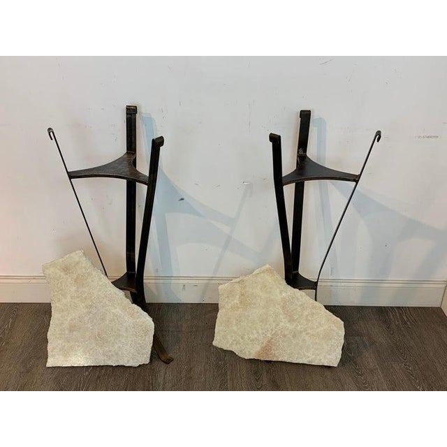 Mid 20th Century Pair of Rock Crystal and Iron Pedestals For Sale - Image 5 of 13