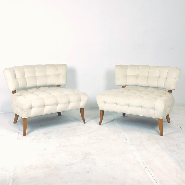"""Stunning pair of comfortable larger scale tufted lounge chairs by designer William """"Billy"""" Haines. Stunning example of..."""