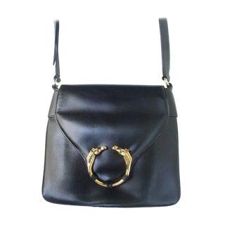 Gucci Ebony Leather Equestrian Emblem HandbagGUCCI Ebony Leather Equestrian Emblem Handbag For Sale