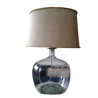 Clear Blown Glass Lamp W/ Burlap Shade For Sale