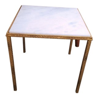 Global Views Hammered Gold Square White Marble Top Side Table