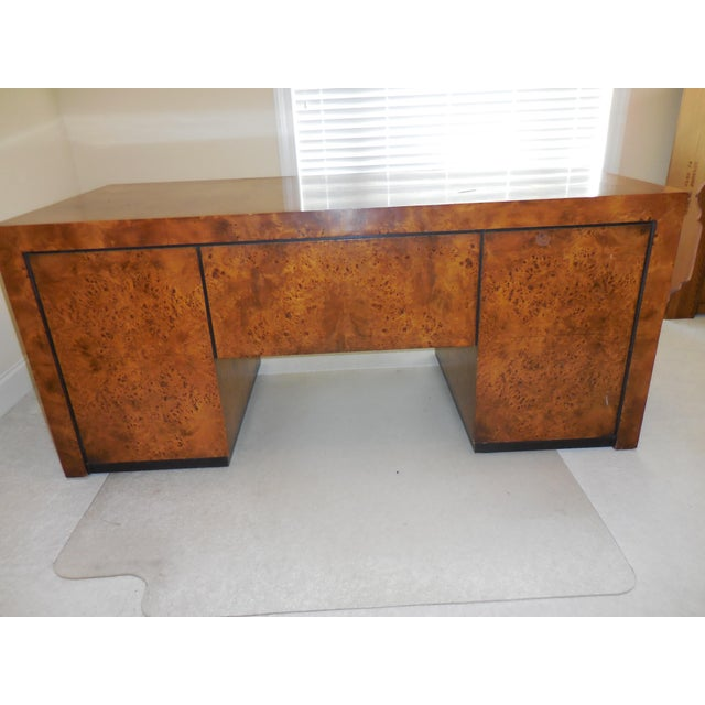 Mid Century Modern Hekman Executive Burl Wood Desk For Image