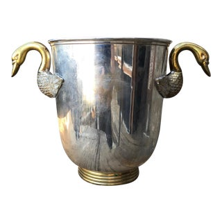 1950s French Regency Swan Neck Handle Bronze & Silver Champagne Ice Bucket For Sale