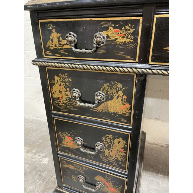 1970s Chinoiserie Leather Too Writing Desk For Sale - Image 5 of 13
