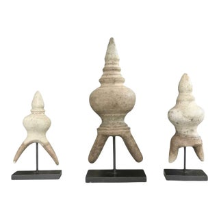 18th Century Antique Stupa Carvings - Set of 3 For Sale