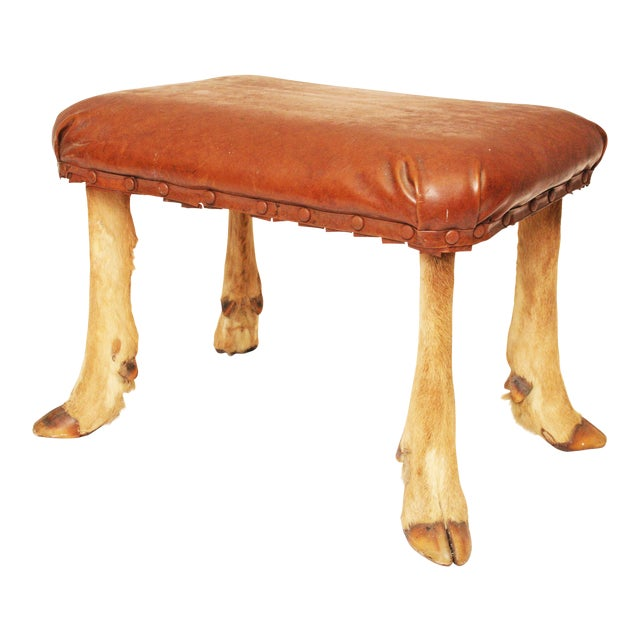 Vintage Brown Vinyl Foot Stool - Image 1 of 11