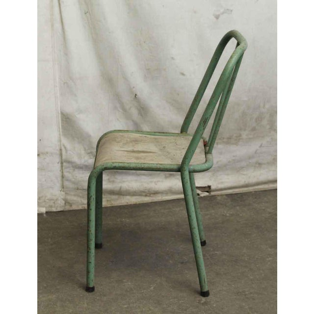 Reclaimed Imported Green & White Steel School Chairs - Set of 3 For Sale - Image 4 of 5