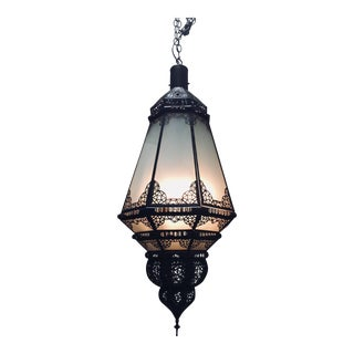 Moroccan Vintage Metal and Frosted Glass Light Fixture For Sale