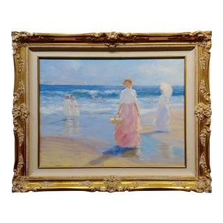 Gregory Harris -Women Walking Along the Beach W/Parasol-Oil Painting For Sale