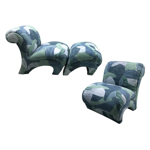 1980s Chairs and Ottoman Upholstered in 'Watercolor' Abstract Fabric For Sale - Image 10 of 10