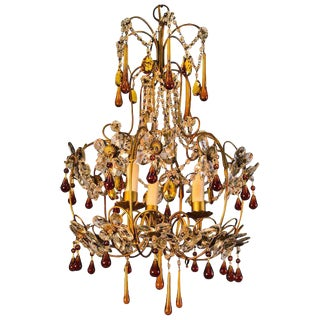 Mid Century Gold Italian Birdcage 3 light Crystal Chandelier For Sale