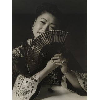 1956 Photograph of Asian Woman with Fan For Sale