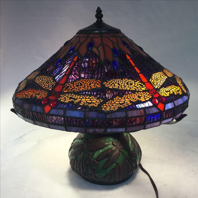 Tiffany Inspired Dragonfly Lamp Beautiful stained glass lamp with a dragonfly motif. Green glass base with blue, red, pale...