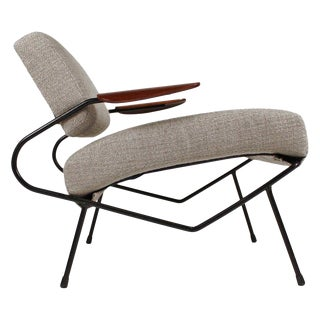 Dan Johnson Iron Lounge Chair With Bent Walnut Plywood Armrests For Sale